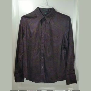 Lauren Ralph Lauren Purple paisley button down top